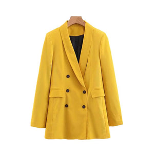 Mustard Blazer Pockets Single Button Long Sleeve