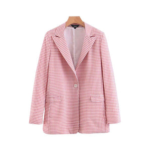 Pink Plaid Blazer Pockets Single Button Long Sleeve