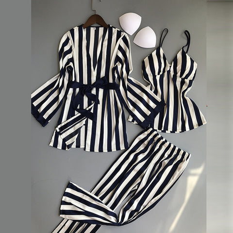 Pajamas Sets 3 Pieces Spaghetti Strap Tops Satin Sleepwear