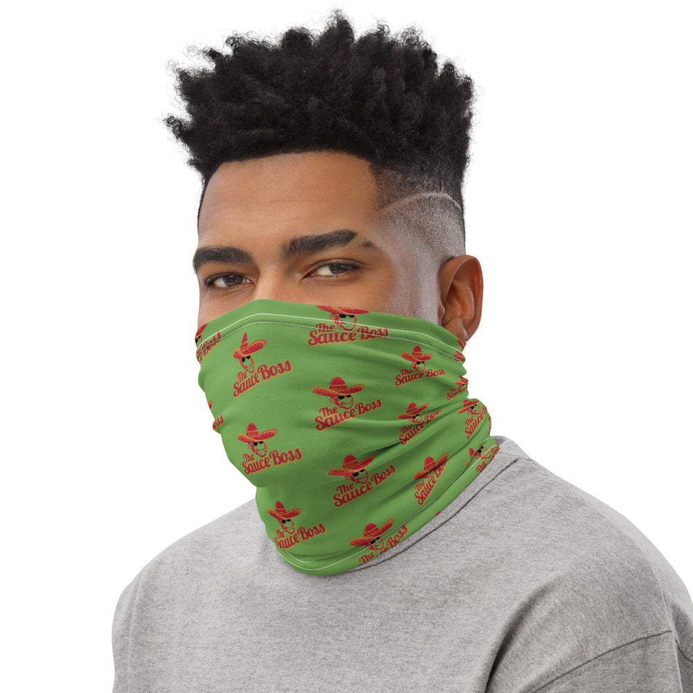 The Sauce Boss Unisex Neck Gaiter - Green with Full Color Logo