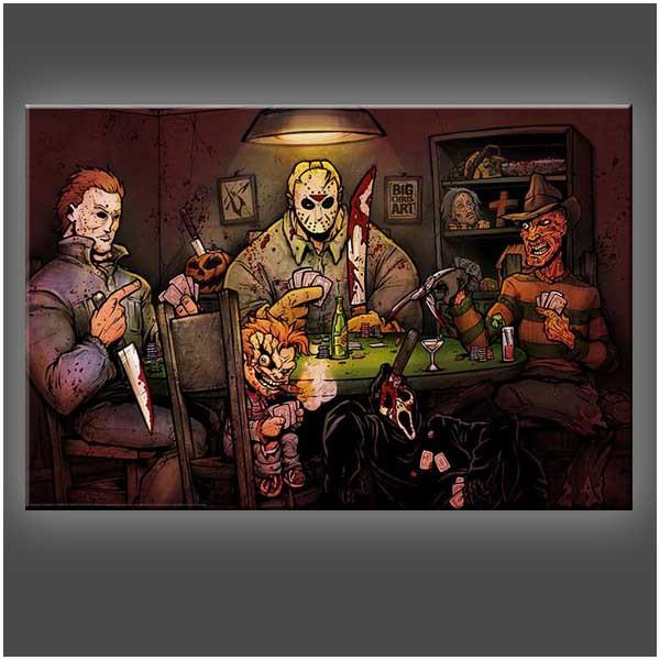 """Slasher's Playing Poker"" Stretched Canvas Print (Various Sizes)"