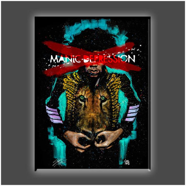 "Jimi Hendrick's ""Manic Depression"" Stretched Canvas Print (Various Sizes)"