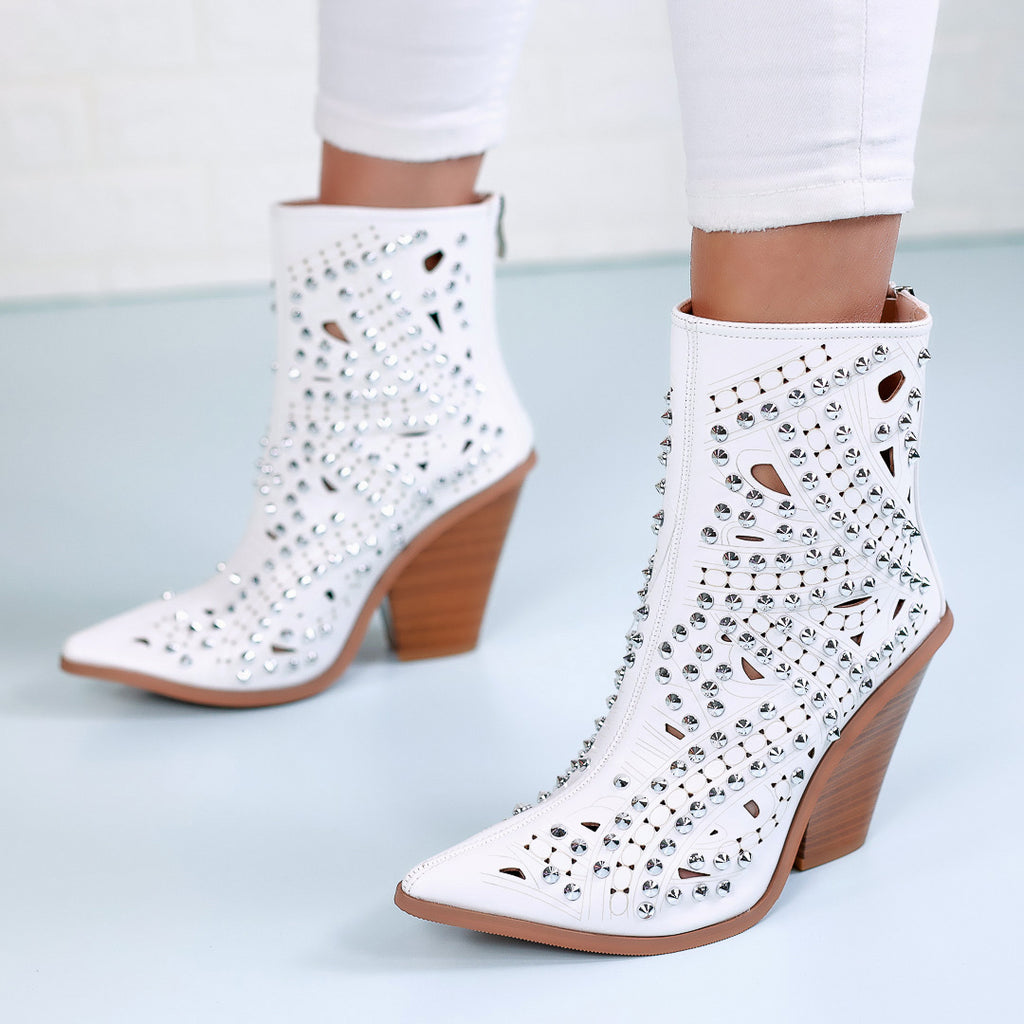 Botine dama Steffy - White