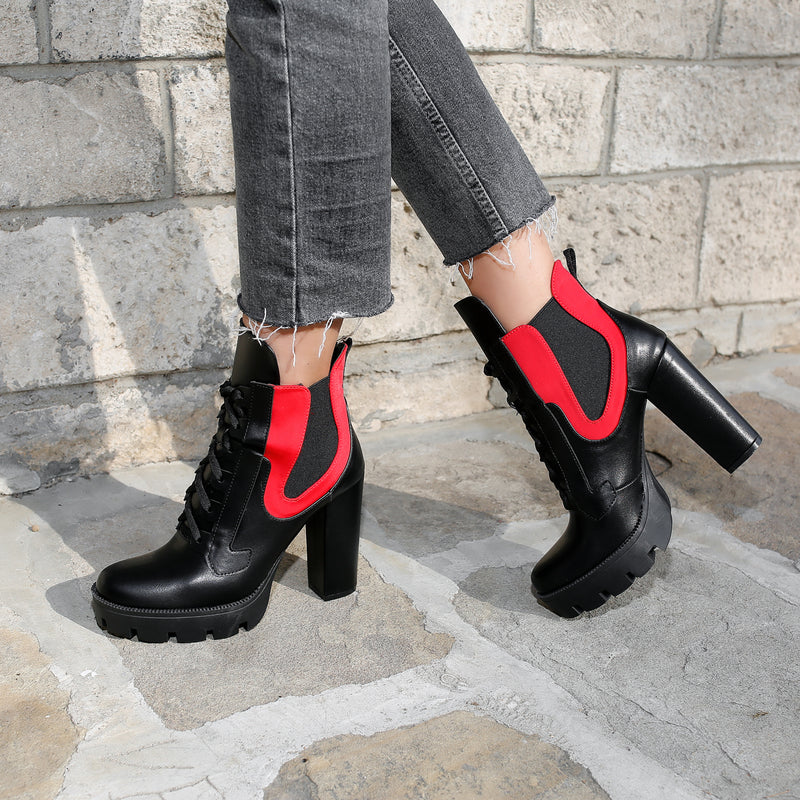Botine dama Bello - Black/Red