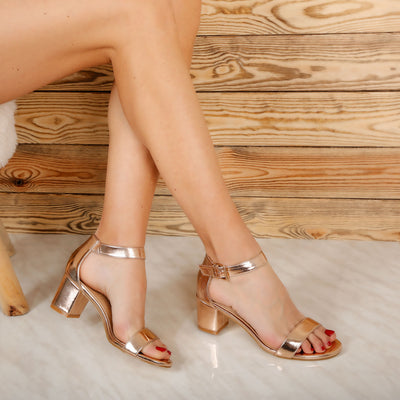Sandale dama cu toc Gerry - Rose Gold