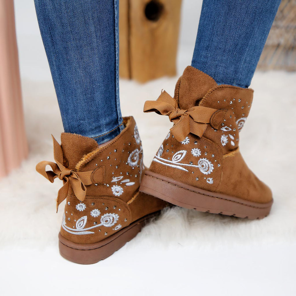 Botine dama Flower on ice camel