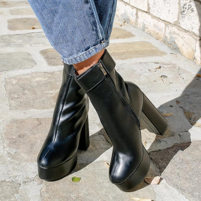 Botine dama cu toc SAMIRA - BLACK LEATHER
