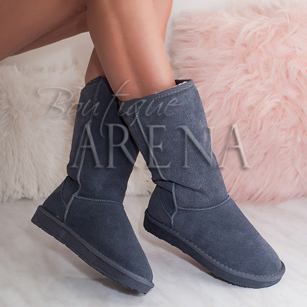Cizme tip UGG de dama Winter mood gri
