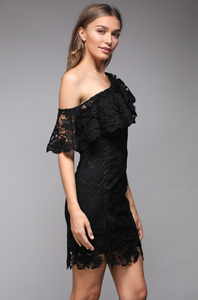 DO and BE LACE ONE SHOULDER MIDI DRESS