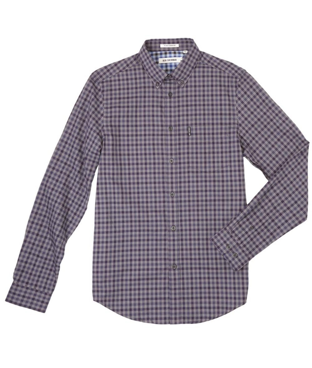 Ben Sherman House Gingham LS Shirt - BLACK GRAPE