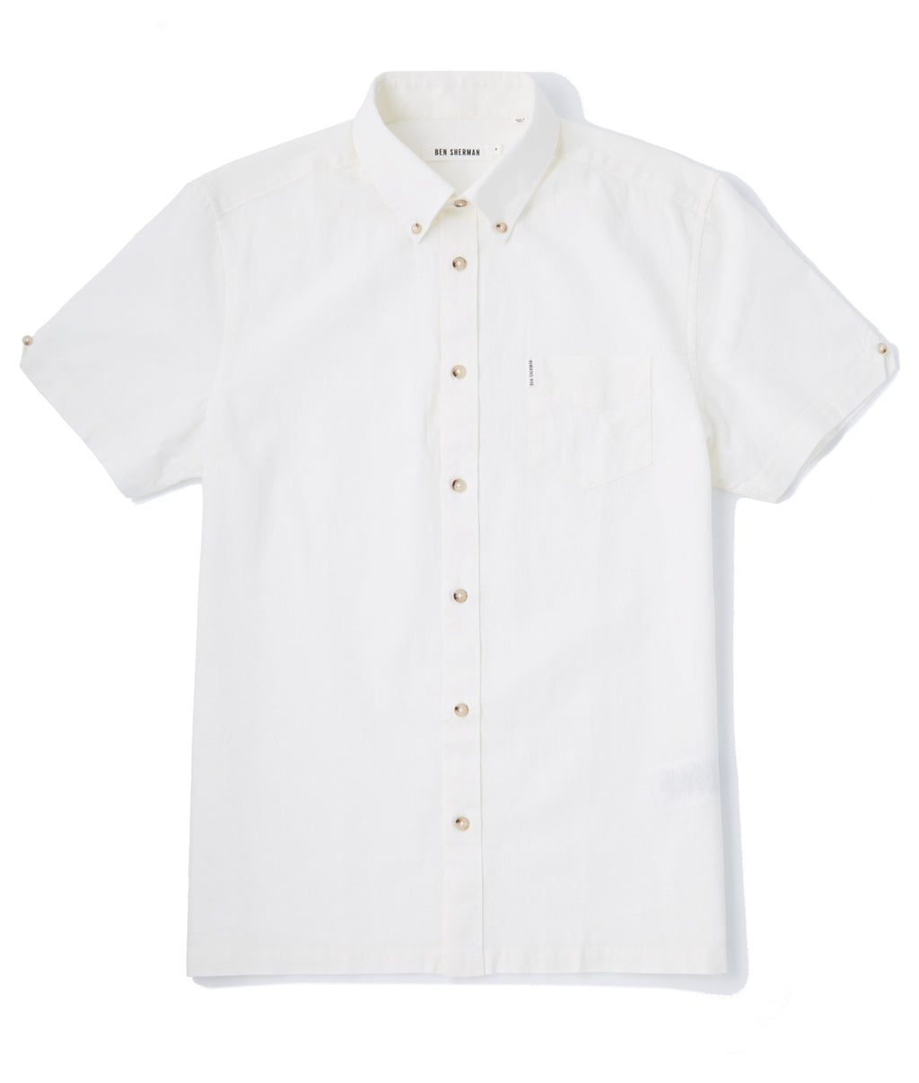 Ben Sherman Plain Linen SS Shirt - OFF WHITE