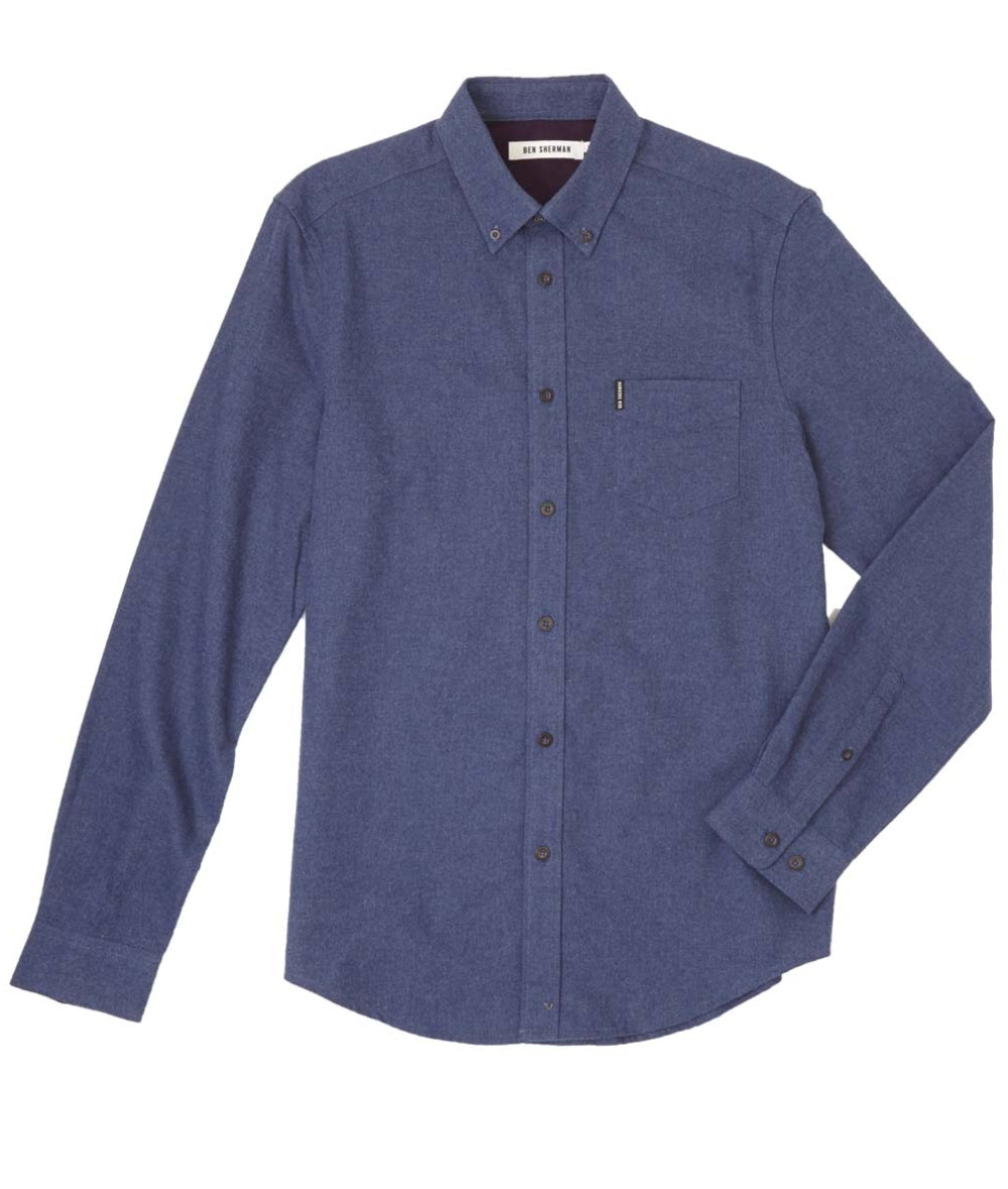 Ben Sherman Brushed Marl LS Shirt - INDIGO