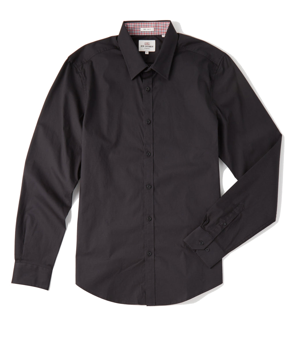 Ben Sherman Classic Stretch LS Shirt - JET BLACK