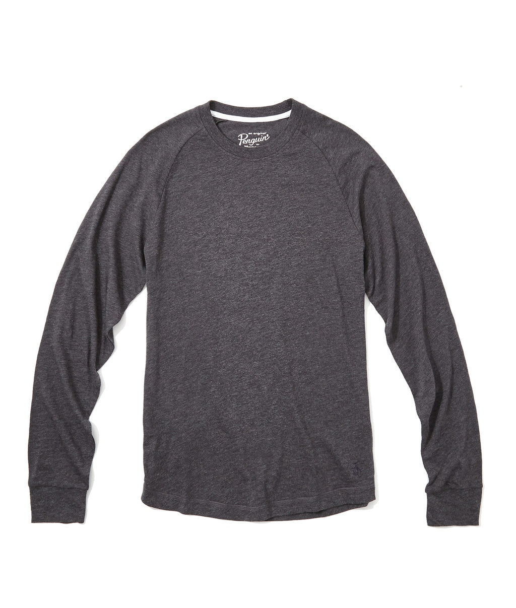 Original Penguin New Bada Heritage LS Tee - DK CHARCOAL HEATHER
