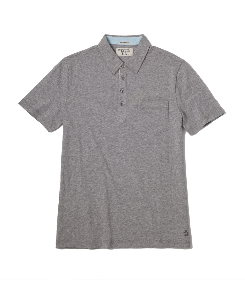 Original Penguin Bing Heritage Slim SS Polo - RAIN HEATHER