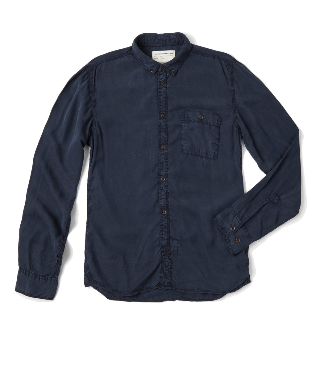 French Connection Workwear Tencel LS Shirt - NAVY