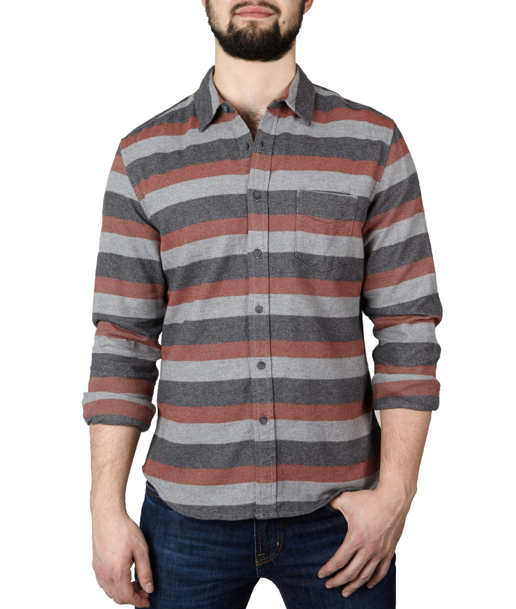 Life/After/Denim TOMAHAWK STRIPE LS SHIRT - BRICK RED
