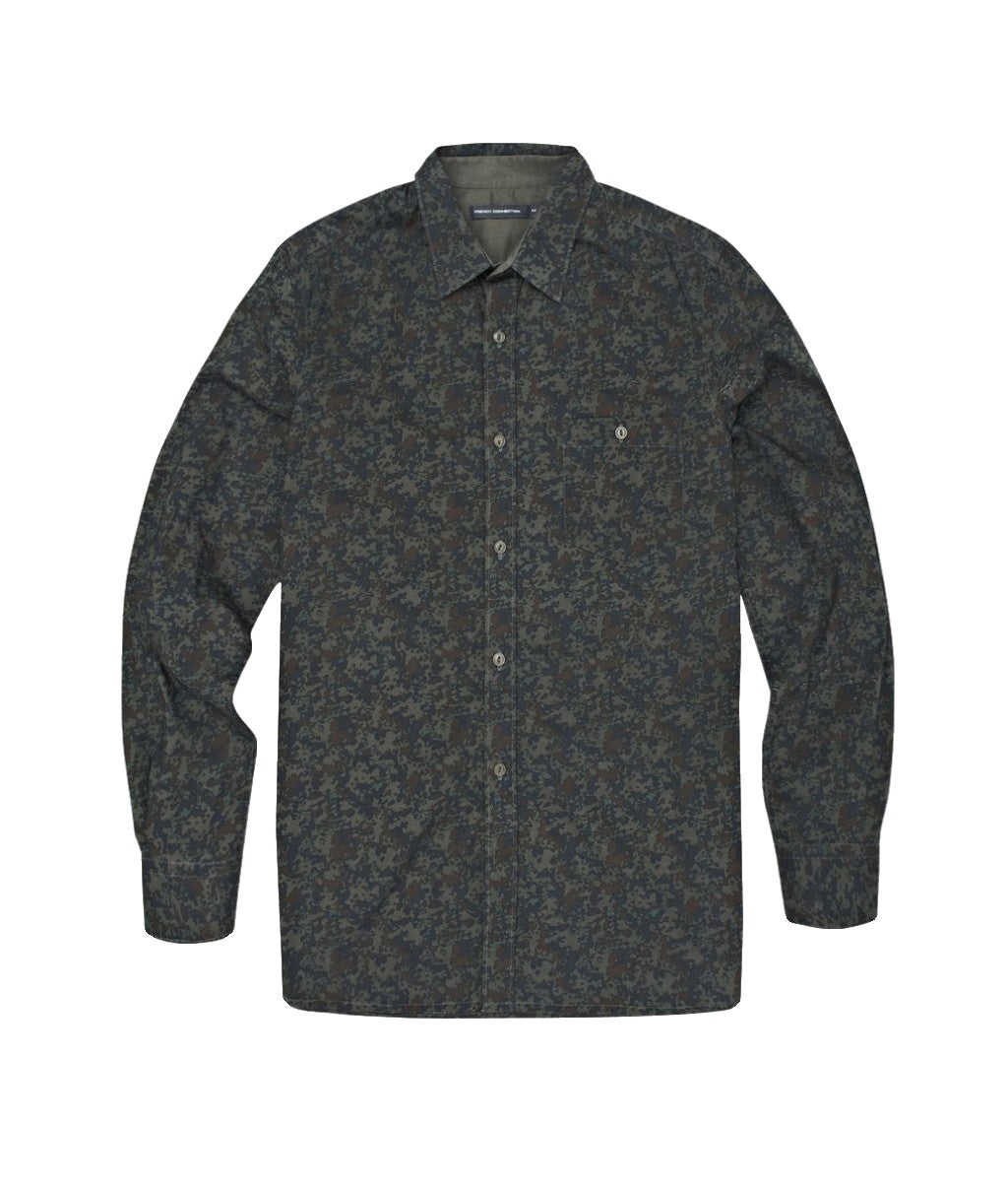 French Connection IRON SIGHT CAMO CONNERY LS SHIRT - BLACK INK