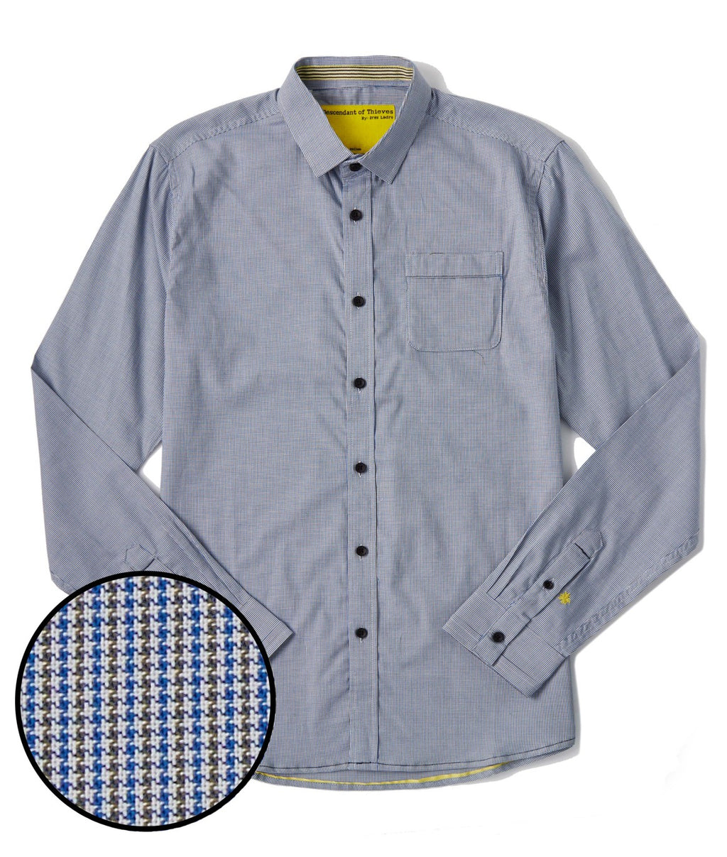 Descendant of Thieves Micro Houndstooth LS Shirt - BLUE/GREEN