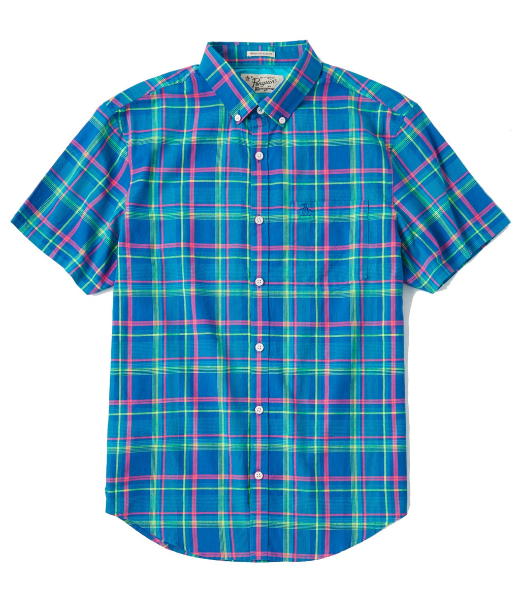 Original Penguin Colorful Plaid Lawn Heritage SS Shirt - TRUE BLUE