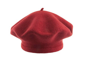 Red Beret 100% Wool Winter Hats Millinery Brick Dark (RED)
