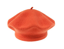 Orange Beret 100% Wool Winter Hats Millinery Red Rusty