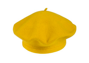 Yellow Beret 100% Wool Winter Hats Millinery