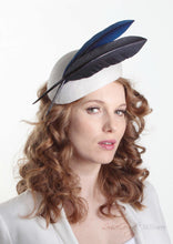 Brigitta two quill Beret on ivory straw. Millinery handmade in London. Side view.