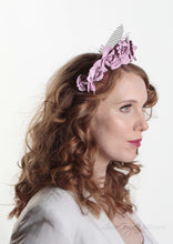 Rosie pale lilac leather flower crown on lattice. Model right side view. Millinery handmade in London.