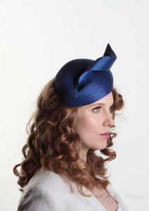 Royal Blue Silk Abaca Beret. Front right side model view. Royal enclosure approved. Millinery handmade in London. Louise Georgette Millinery