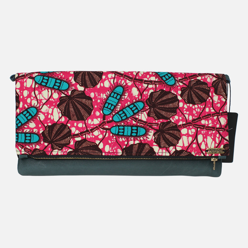 Ankara Clutch - Black Red Stripe
