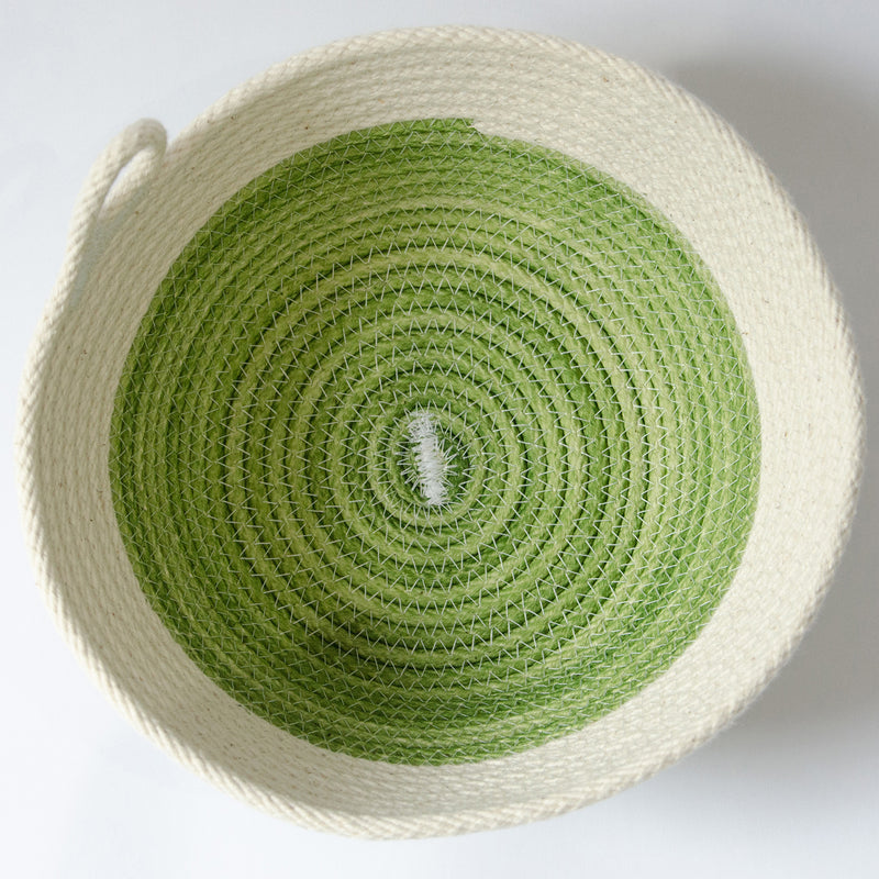 Coiled-Cotton-Bowls-Small-Natural-With-Green-Stitch-Modern-décor-Grey-Background