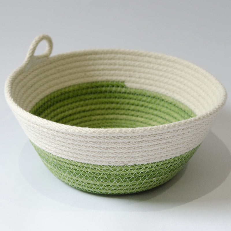 Coiled-Cotton-Bowls-Small-Natural-With-Green-Stitch-South-Africa-handmade-Design-Grey-Background