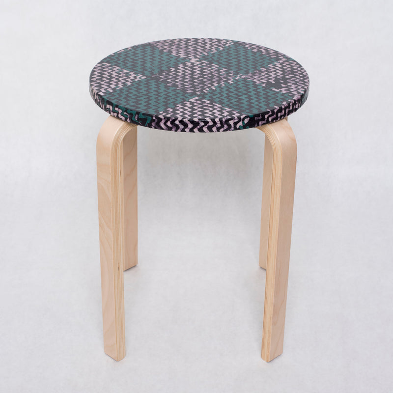 Lollipop Side Table Stool- Turquoise Pink