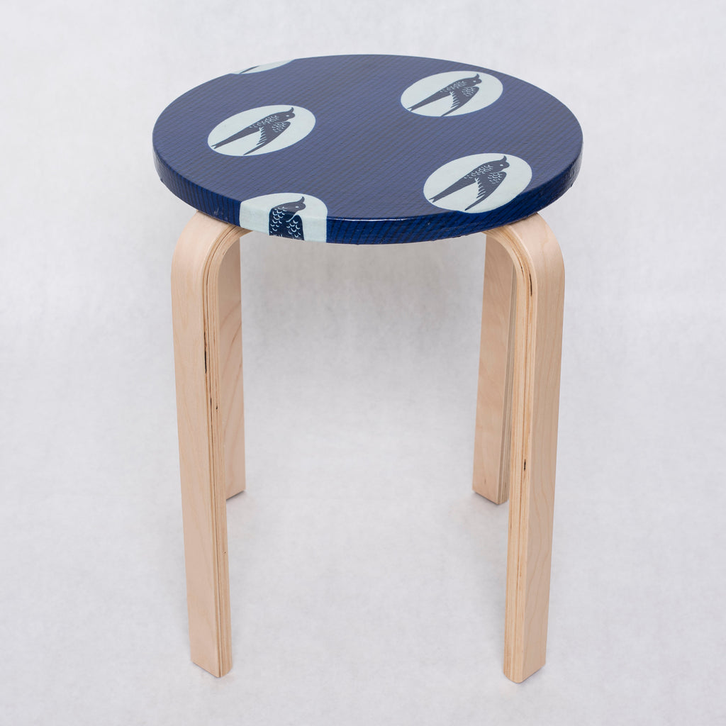 Lollipop Side Table Stool - Blue Bird