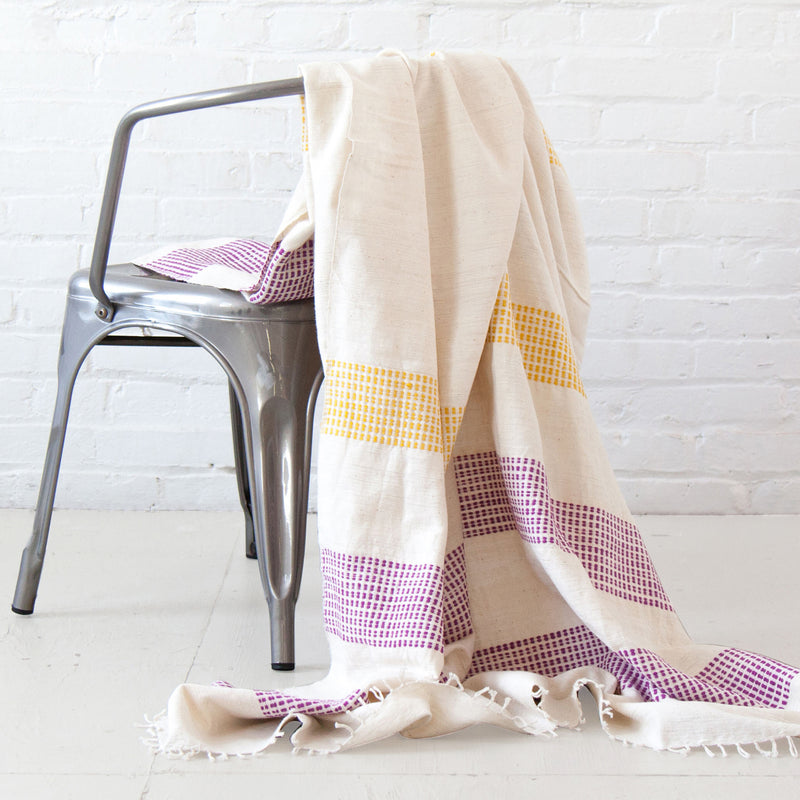 Gabi Ethiopian Throw Blanket - Sand