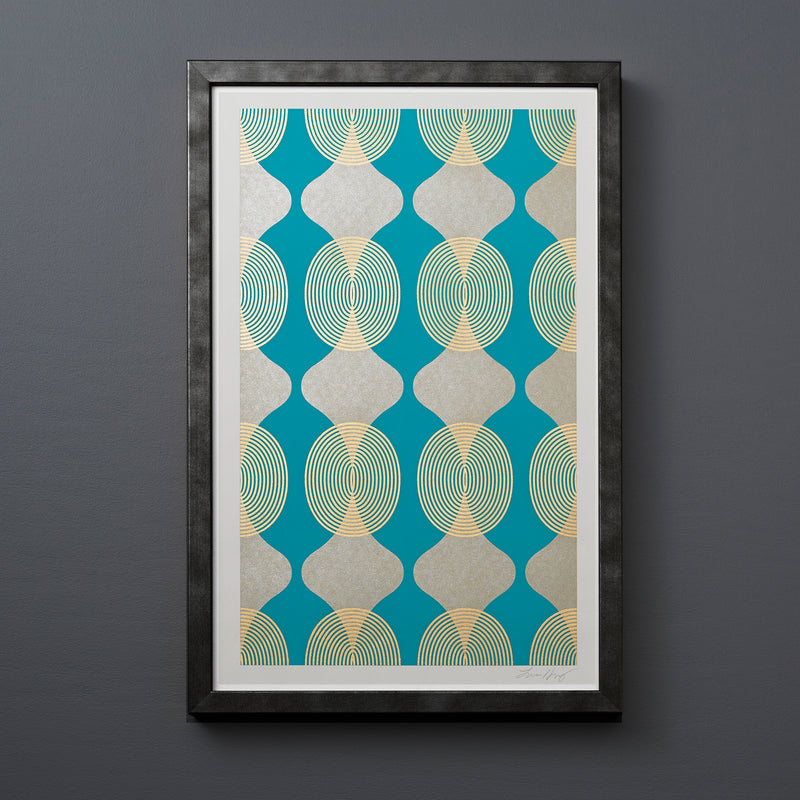 HOURGLASS-BEADS-TURQUOISE-GOLD-PRINT-FRAMED-MODERN
