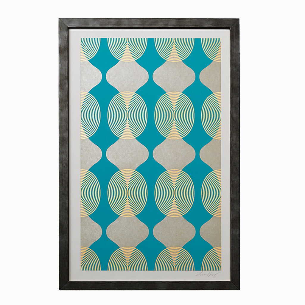 HOURGLASS-BEADS-TURQUOISE-GOLD-PRINT-FRAMED