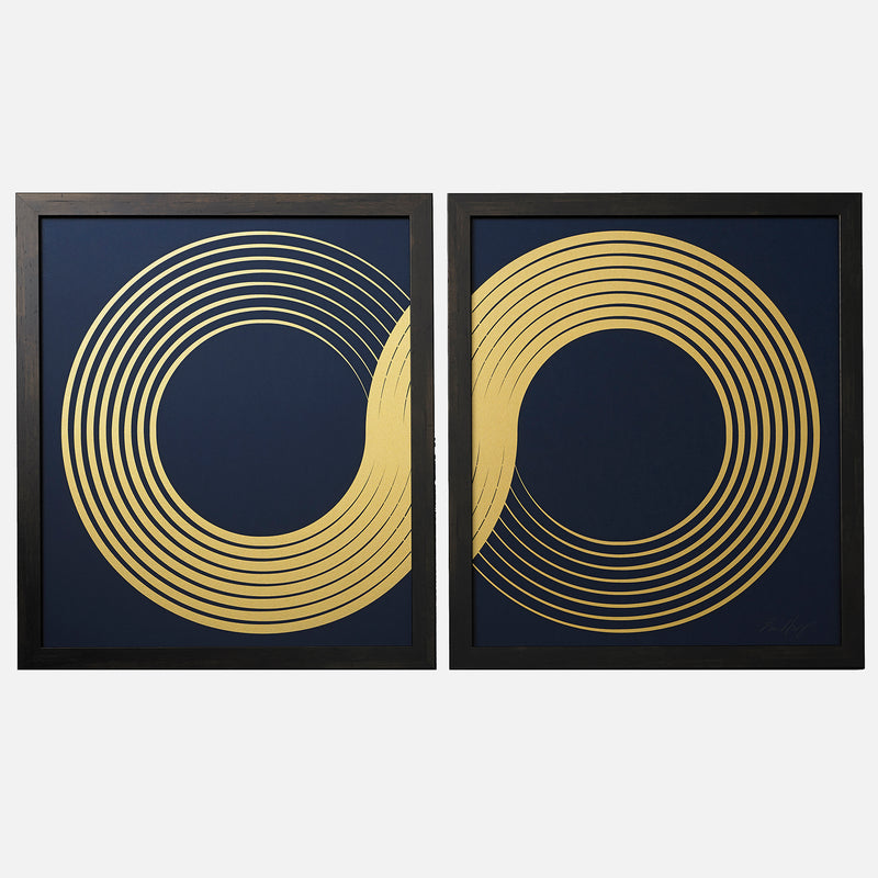 INFINITY-DIPTYCH-NAVY-GOLD-PRINT-FRAMED