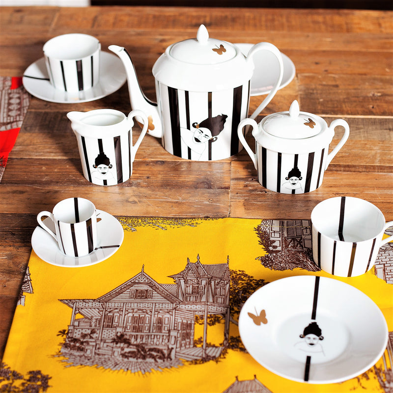 Nguka-Limoges-Tea-Set-With Lid-Black-white