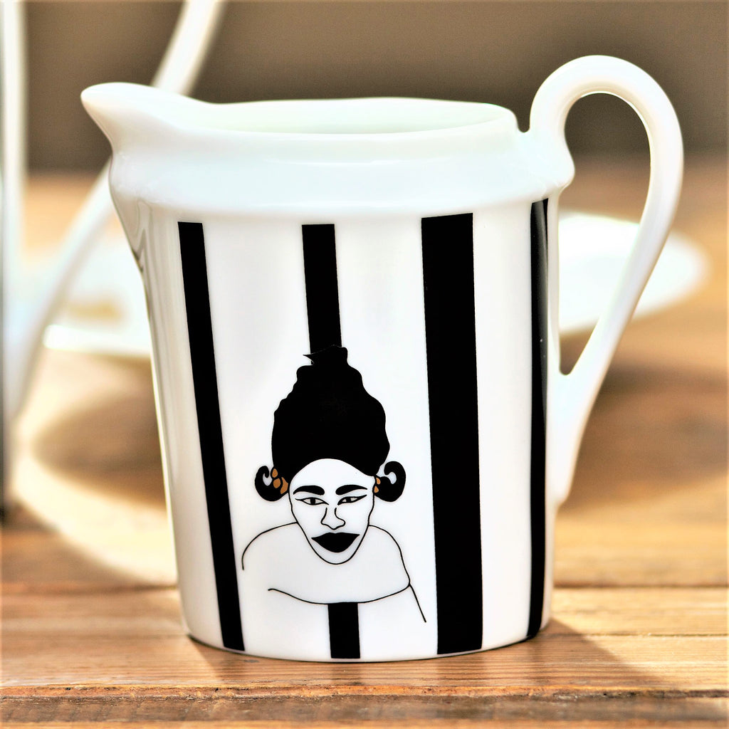 Nguka-Limoges-milk-jug-Black-white