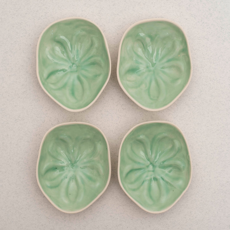 Philodendron Salad Plate 2 Set - Teal