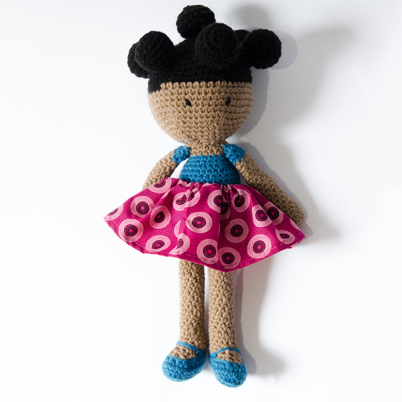 Thandi-Hand-Crochet-Doll-With-Lesotho-Print-Outfits-Little-Black-Girl