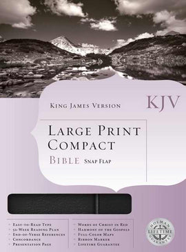 KJV Large Print Compact Bible-Black Bonded Leather w/Snap Flap
