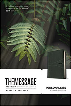 Message/Personal Size Bible (Numbered Edition)-Black Wave LeatherLook