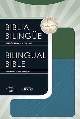 Span-RVR 1960/NKJV Bilingual Bible-Blue/Green LeatherSoft