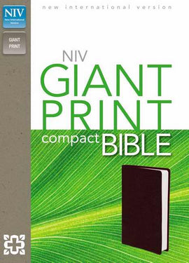 NIV Giant Print Compact Bible-Burgundy Leather-Look
