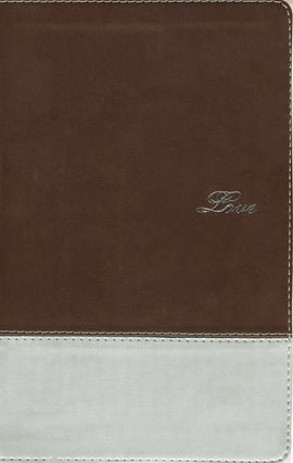 NIV Couples Devotional Bible-Chocolate/Silver Duo-Tone