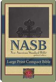NASB Large Print Compact Bible-Black Cross Leathertex