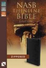 NASB Thinline Bible/Large Print-Black Bonded Leather w/Zipper